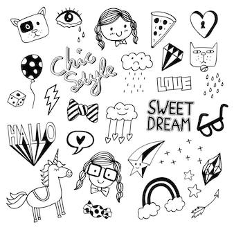Várias coisas fofas no estilo doodle