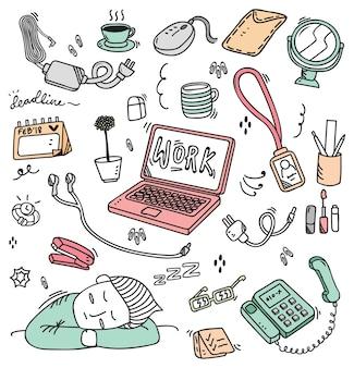 Várias coisas na mesa de trabalho em estilo doodle