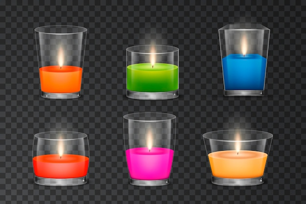 Várias coleções realistas de velas perfumadas