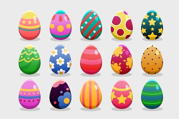 Várias cores e desenhos para ovos de páscoa