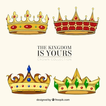 Várias coroas bonitas com pedras preciosas