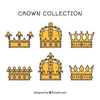 Várias coroas de luxo desenhadas à mão