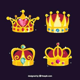 Várias coroas de ouro com pedras preciosas
