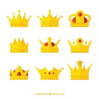 Várias coroas de ouro em design plano
