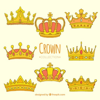 Várias coroas douradas desenhadas à mão