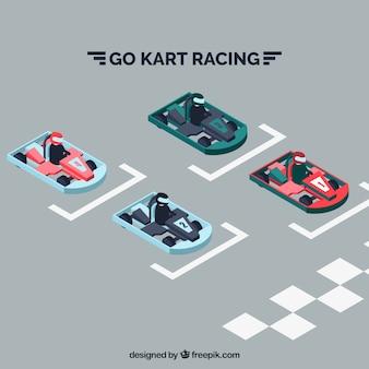 Várias corridas de kart