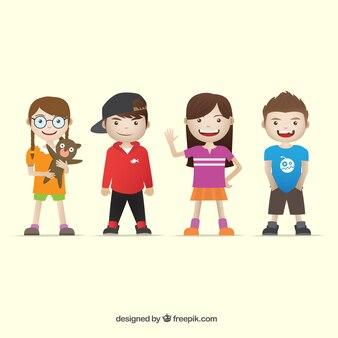 Várias crianças vestindo roupas modernas
