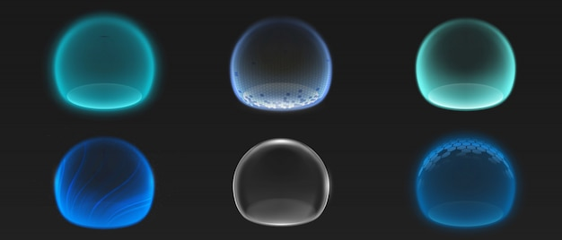 Várias esferas de brilho energético