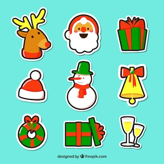 Várias etiquetas desenhadas a mão do natal
