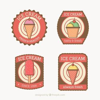 Várias etiquetas do gelado no estilo retro