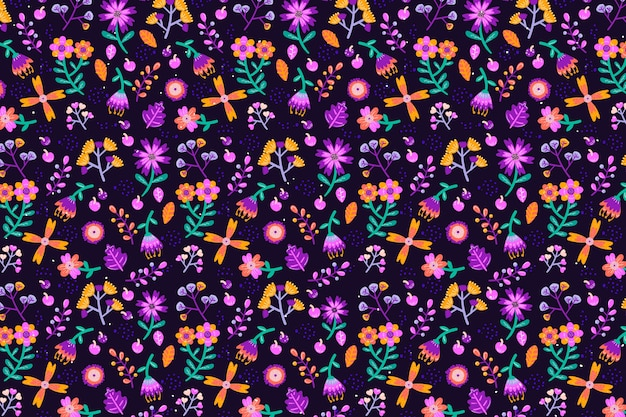 Várias flores sem costura fundo de impressão