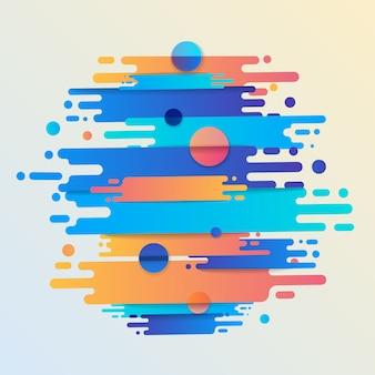 Várias formas arredondadas coloridas linhas em ritmo diagonal. ilustração da composição dinâmica. elemento geométrico gráfico de movimento.