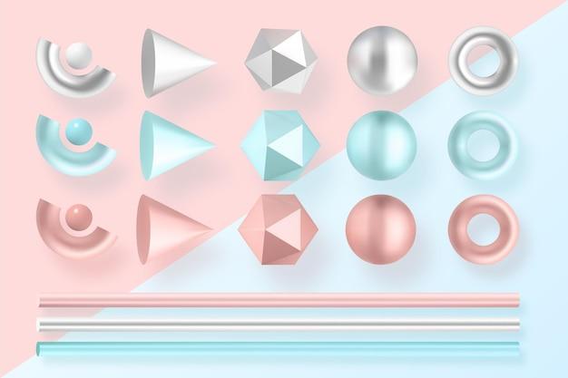 Várias formas geométricas em cores diferentes efeito 3d