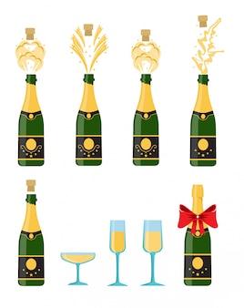 Várias garrafas de champanhe sendo abertas