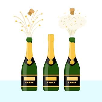 Várias garrafas de champanhe