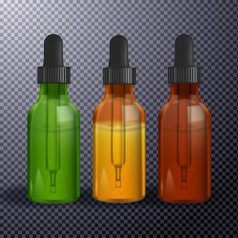 Várias garrafas de vidro com óleo cbd