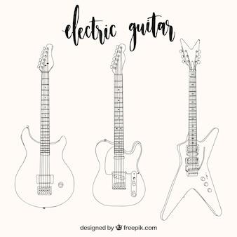 Várias guitarras elétricas desenhadas à mão
