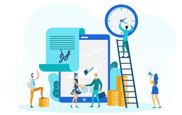 Várias ilustrações de atividades de negócios