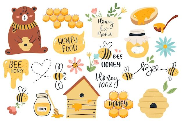 Várias ilustrações de mel