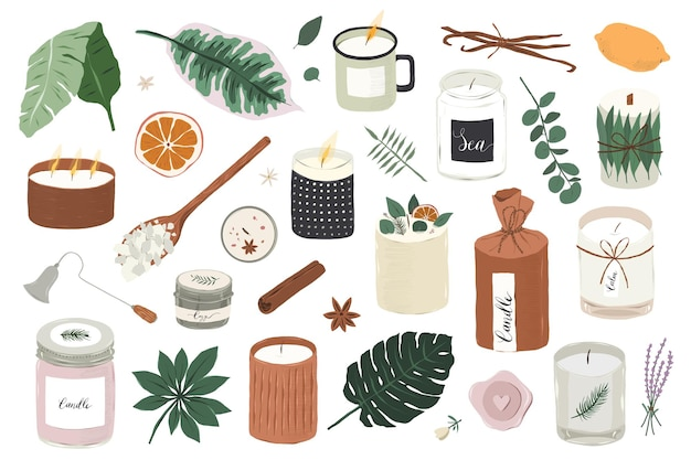 Várias ilustrações de velas perfumadas de soja isoladas no fundo branco