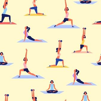 Várias mulheres poses praticando yoga. vetor de esporte.