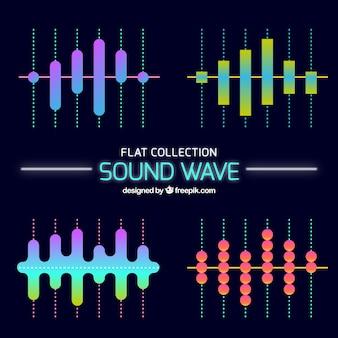 Várias ondas sonoras em design plano