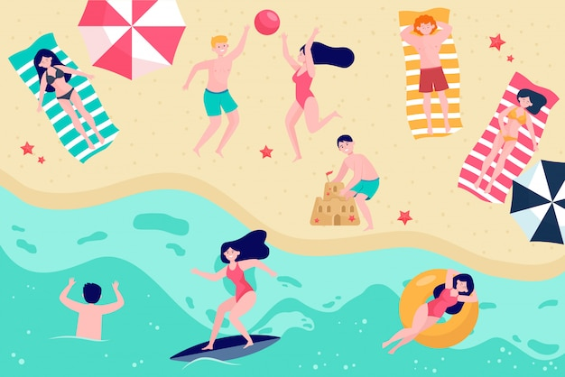 Várias pessoas relaxando na ilustração em vetor plana praia