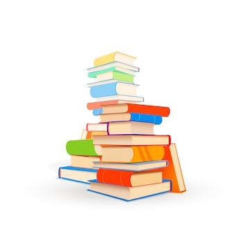 Várias pilhas de livros didáticos diferentes isolados no branco