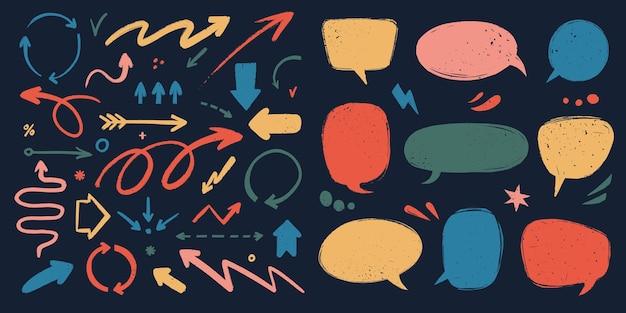 Várias setas de doodle e balões de fala com textura de grunge