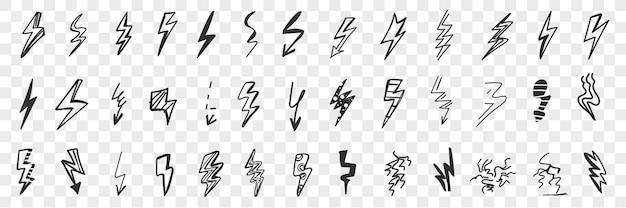 Várias setas e indicadores de perigo doodle conjunto.
