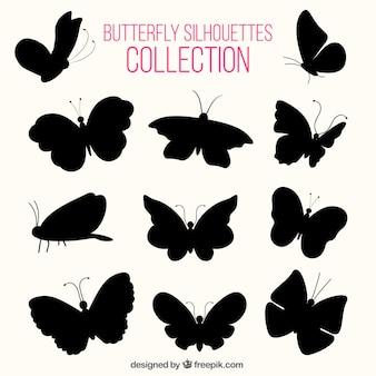 Várias silhuetas de borboletas