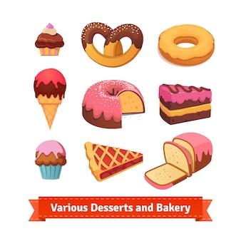 Várias sobremesas e padarias