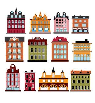 Várias variantes de casas no branco