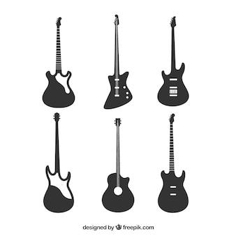 Variedade, baixo, guitarra, silhuetas