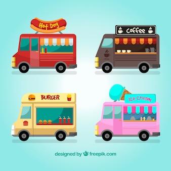 Variedade clássica de caminhões de alimentos