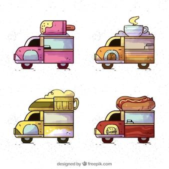 Variedade clássica de caminhões de comida desenhados a mão