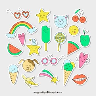 Variedade colorida de adesivos desenhados à mão