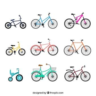 Variedade colorida de bicicletas básicas