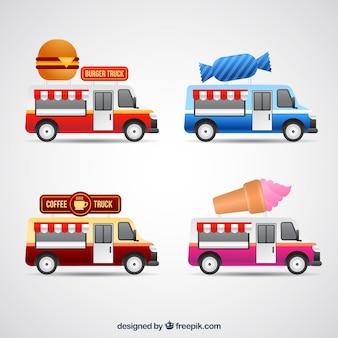 Variedade colorida de caminhões de alimentos