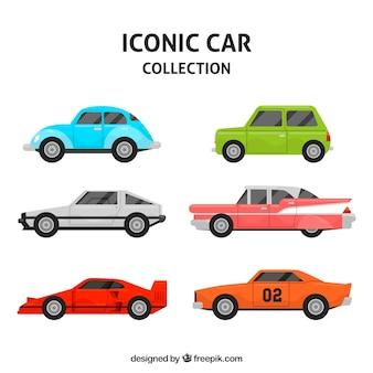 Variedade colorida de carros clássicos