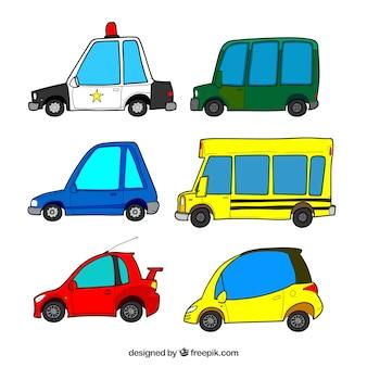 Variedade colorida de carros engraçados