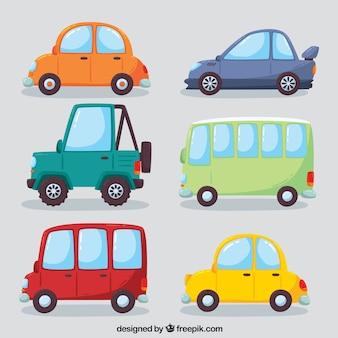 Variedade colorida de carros modernos