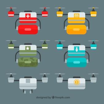 Variedade colorida de drones profissionais