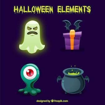 Variedade colorida de elementos de halloween