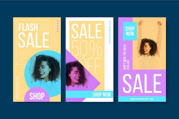 Variedade colorida de histórias do instagram de venda