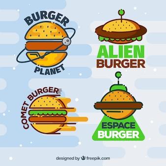 Variedade, coloridos, hamburguer, logotipos
