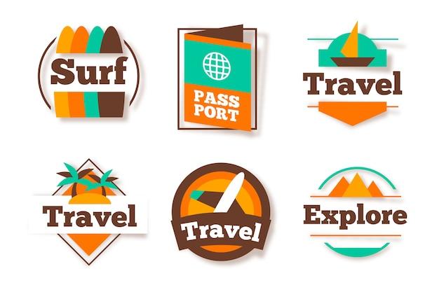 Variedade de adesivo de viagem em estilo retro
