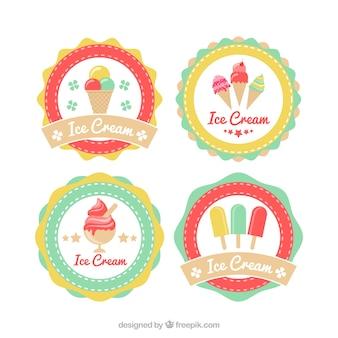 Variedade de adesivos redondos de sorvete