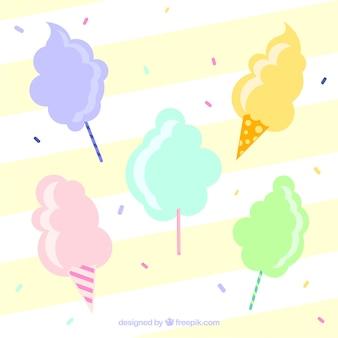 Variedade de algodão doce com confete