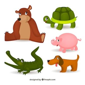 Variedade de animais fofos com estilo infantil
